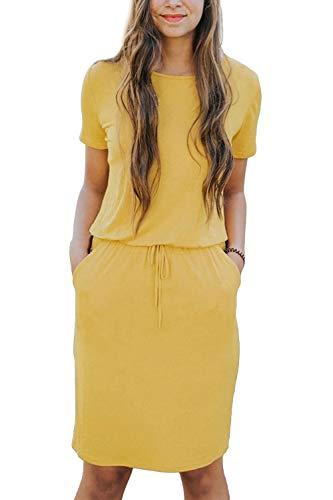 Yidarton Damen Sommer Kleid Kurzarm Blumendruck Patchwork Casual Plissee Midikleid mit Taschen, Gelb4, S Linie Scoop Neck