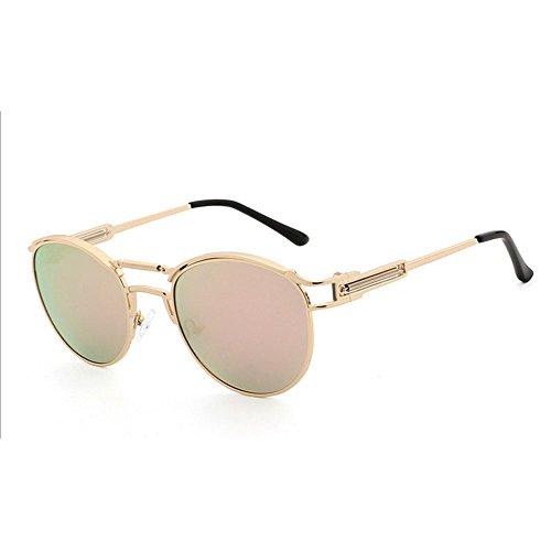 RLJJSH Sonnenbrillen Damen europäischen und amerikanischen Stil polarisierten Sonnenbrillen Runde Retro Männer personalisierte Metallrahmen Sonnenbrillen Sonnenbrille