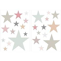 Wandtattoo Kinderzimmer Wandsticker Set Pastell Sterne in modernen Farbkombinat
