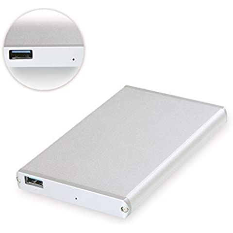 [USB 3.0 & Optimized For SSD, Silver Aluminum Finish] Cateck 2.5 Inch USB 3.0 Hard Drive Disk HDD External Enclosure/ Case With USB 3.0 Cable for 9.5mm 7mm 2.5-Inch SATA-I, SATA-II, SATA-III, SATA HDD and SSD, Support UASP