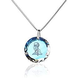 Silberkette Halskette 925 Silber Sternzeichen Tierkreiszeichen Wassermann hergestellt mit Swarovski®Kristall