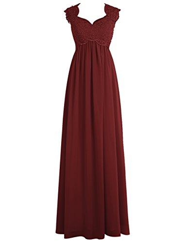 Dresstells, Robe de soirée Robe de cérémonie Robe de gala mousseline dentelle dos nu longueur ras du sol Bordeaux