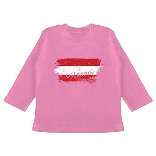 Städte & Länder Baby - Österreich Vintage - 6-12 Monate - Pink - BZ11 - Baby T-Shirt Langarm