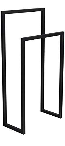 HOLZBRINK Metall Handtuchhalter für Badezimmer Kleiderständer Freistehender Handtuchständer mit 2 Stangen, Tiefschwarz, 72x60x20 cm (HxBxT), HLMH-01-72-60-9005 (Freistehend Handtuchhalter)