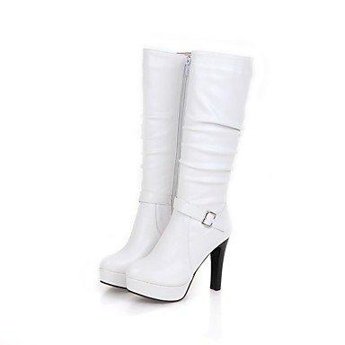 Wuyulunbi@ Scarpe Donna Moda Invernale Stivali Stivali Stiletto Heel Round Toe Ginocchio Alti Stivali Fibbia Ruffles Zipper Per Party US7.5 / EU38 / UK5.5 / CN38