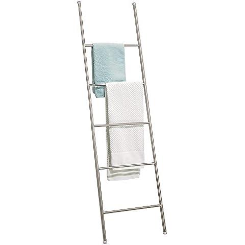 mDesign - Toallero-escalera autónomo para almacenamiento en el cuarto de baño - 5 barrales -