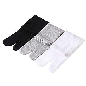 Supvox Zwei Zehensocken Flip Flop Socken aus Elastischer Baumwolle 3 Paare (Weiß + Grau + Schwarz)