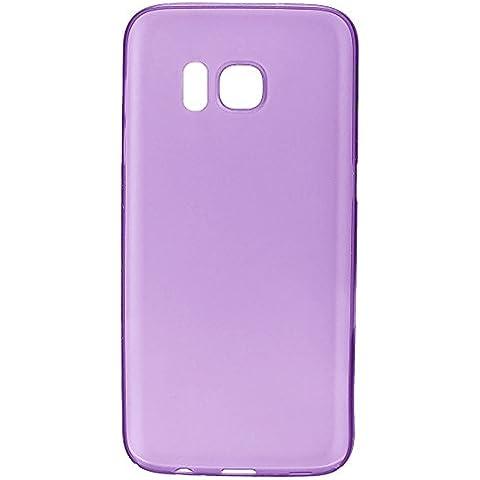 wanit UltraSlim Cover 0,3mm Custodia per Samsung Galaxy S7 Edge Protettiva Copertura Posteriore Completo Ultra Sottile Opaca TPU Policarbon Paraurti Glassato Clear (Viola)
