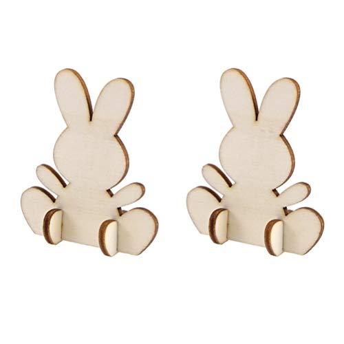 Amosfun Holz Hasen Holz Ausschnitte 3D Kaninchen Form Holz Verzierung Ostern Deko für DIY Handwerk Malen Tisch Deko 20 Stück