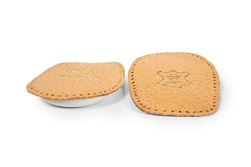 Kaps Schuheinlagen zur Fersenpolsterung - Fersen-Einlage bzw. -Becher - Pflanzlich gegerbtes Leder und weiches Latex - Selbstklebende Unterseite Elflex - Alle Größen - 1 Paar (Frauen/EUR 38-40) -