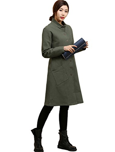 MatchLife Femme Dames Grille Button Poches Trench Manteau Vert