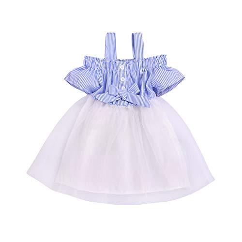 FBGood Mädchen Schulterfrei Gestreifte Schleife Tüll Prinzessin Kleider Kinder Kurzarm Strandkleid Neugeborenes Party Spielanzug Sommer Kleid Kleidung -