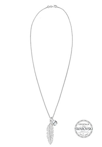 Elli Women 925 Sterling Silver Xilion Cut Crystal Necklace with Feather Pendant