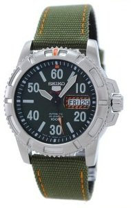 Seiko 5 Sports Automatic 24 Jewel, Military Style, orangefarbenen Reflexen, Green Canvas Strap, Herren-Armbanduhr - SRP215J2