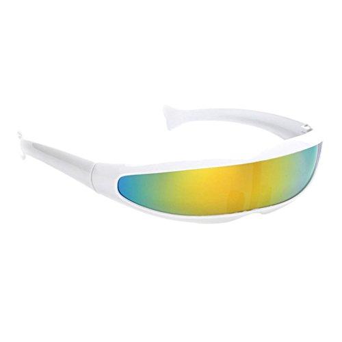 MagiDeal Futuristische Schmale Cyclops Farbe Verspiegelte Linse Visor Sonnenbrille - Weiß Gelb