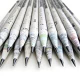 CHAVI Crayons Eco papier journal-50 pièces (1 boîtes) 2B fabriqué à partir de 100% papier recyclé/crayon à papier journal pour l'écriture/dessin / design pour bureau/écoles