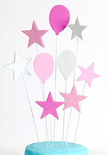 Sugar and Cakes Cake Topper Torte Cupcake Deko Geburtstag Ballons Sterne Mädchen Tortenaufsatz Tortenstecker Muffin Fondant Dekoration rosa/Weiss CT20