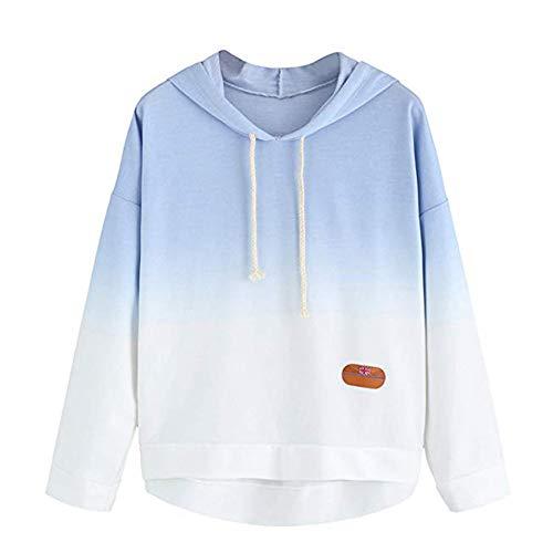 OSYARD Damen Blumedrucke Patchwork Farbblock Tie Dye Print Hooded Sweatshirts, Frauen Langarm Kapuzenpullover Colorblock Tie Dye Print Pullover Shirt Bluse (2XL, Blau) - Frauen Tie-dye-sweatshirt Für
