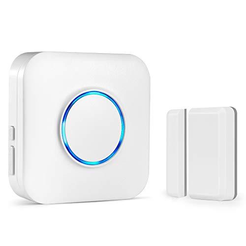 Tür Fenster Sensor Klingel, BITIWEND Kabellose Magnetische Melder, Fenster Türsensor mit Magnetsensor, Funk Tür Fenster Detektor mit 1 Empfänger und 1 Sender, Eingebaute LED Anzeige für Hörgeschädigte -