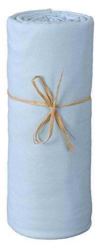 P'tit Basile - Drap housse bébé berceau ou nacelle en Jersey de coton Bio, extensible, 40x80 cm, bleu. Coton peigné de qualité supérieure