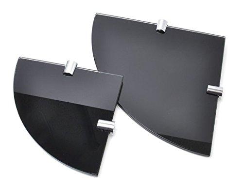 Bsm marketing - ripiani ad angolo in vetro temperato, 6 mm, confezione da 2, 150 mm e 200 mm, colore: nero