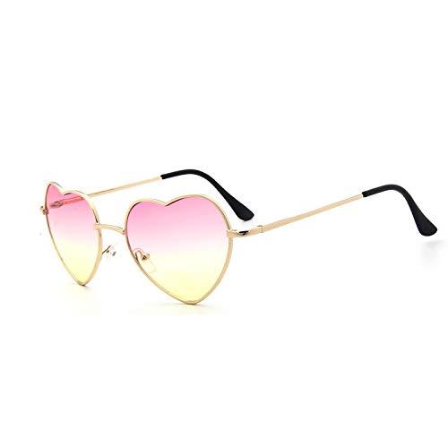 YLYZJH Heart Shaped Sunglasses Frauen Metall klare rote Linse Brille Herz Sonnenbrille Spiegel