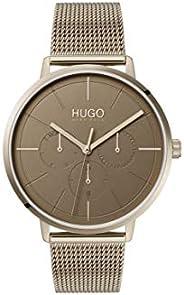 ساعة يد كوارتز بعرض انالوج وسوار من الستانلس ستيل للنساء من هوغو 1540052