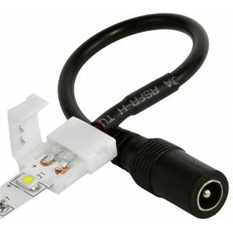 Sin soldadura Conector de alimentación hembra barril de 8mm para 3528LED tira de luz