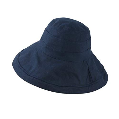 der Jungen Candy Solid Retro Klassisch HüTe MäDchen Fischerhut Atmungsaktiver Hut Baby Bucket Cap Strand Jeden Tag Urlaub Sonnenhut(Marine,50-54cm) ()