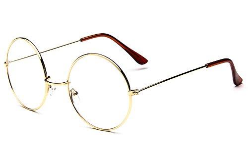 Retro Runden Nerd Metallrahmen Klare Linse Mode Nicht Verschreibungspflichtige Augen Brille Mit Bogen-Brücke (Gold) (Gold Bögen)