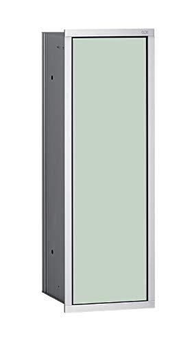 Emco Asis 150 Unterputz Badschrank für WC-Bürste, chrom/Glas weiß, Einbauschrank, Türanschlag wählbar - 973027831