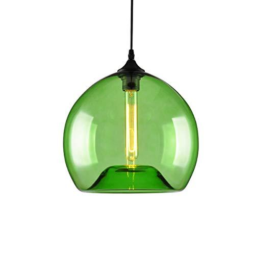 """Pendelleuchte Dia 7\""""Industrielle Glas Lampenschirm Deckenleuchte Sphärische Kronleuchter Beleuchtung für Küche Wohnzimmer (Lampe nicht Im Lieferumfang enthalten) (Grün)"""