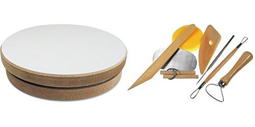SOLIDMARKT Töpferscheibe, ø 20 cm, H: 4,8cm, inkl. Modellier+Töpfer-Werkzeugset, 8-teilig