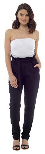 CityComfort Damen Leinenhose | Sommer-Outfit für Frauen mit Trendiger Papiertüte Taille | EU 38 bis 52 Plus Size Hose für Frauen (38, schwarz)