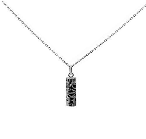 Ensemble pendentif amulette porte bonheur Tahitien tiki sagesse et sa chaine 50cm en argent massif 925 noir neuf et avec coffret