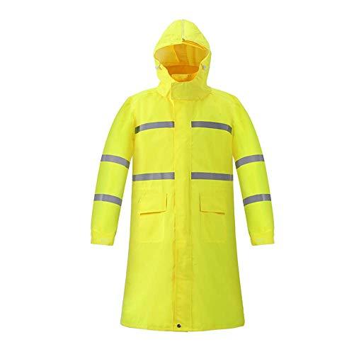 Erwachsene Regenmäntel Guyuan Lange Regenmantel-Verkehrspatrouille-Straßenbau-reflektierender Regenmantel-Leuchtstoffgelb-Windjacke-Neue Starke Wasserdichte Kleidung (Size : M)