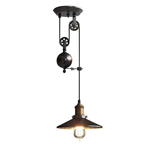 NIUYAO Lámparas de araña Metal Candelabro Iluminación de techo Ajustable Industrial Retro 1 Luz-Negro...