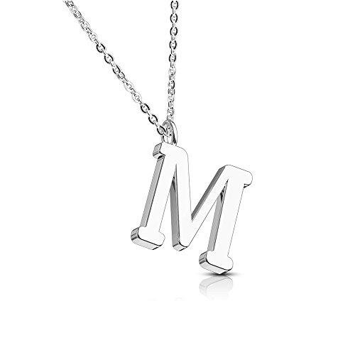 Bungsa Buchstabe M Halskette Silber - Buchstaben-ANHÄNGER M Kette in Rosegold - Alphabet Kette für Frauen & Männer - aus Edelstahl - Schmuck für Jungen & Mädchen