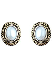 Waama Jewels Agate White Brass Stud Earring For Women And Girls