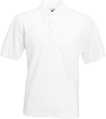 Fruit of the Loom Piqué Poloshirt aus Mischgewebe 63-402-0,Farbe:White;Größe:L (Weiße-kragen-polo-t-shirt)