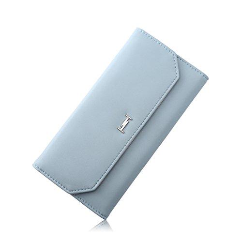 CLOTHES- Lady Wallet Versione coreana Semplice Sezione lunga Moda Tre pieghevole Leisure Facile da guidare Multi-Card Bit Sezione sottile Hand Bag ( Colore : Grigio ) Blu