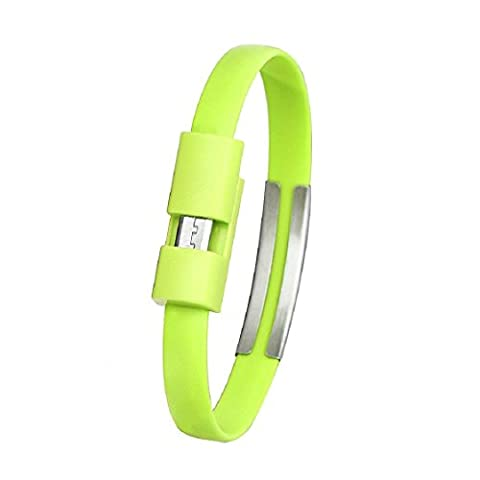 bracelet cable de charge vert - SODIAL(R)bracelet micro chargeur USB cable de charge cable de synchronisation des donnees pour Android telephone portable (Vert)