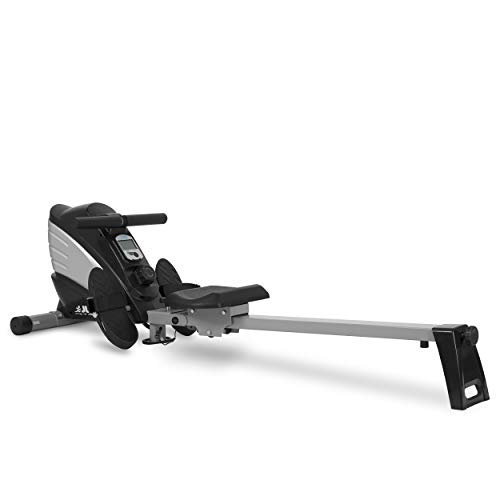 JLL® R200 Home Rowing Machine, 2019 Model Rowing Machine Fitness Cardio Workout with Adjustable Resistance, Advanced Driving Belt System, 12-Month Warranty, Black and Silver Colour