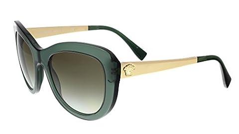 Versace - VE 4325, Oeil de chat, acétate, femme, TRANSPARENT GREEN/OLIVE SHADED(5211/8E), 54/21/140