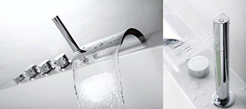 Whirlpool Badewanne Relax Profi MADE IN GERMANY 180 / 190 / 200 x 80 / 90 cm mit 24 Massage Düsen + Unterwasser Beleuchtung / Licht + Heizung + Ozon Desinfektion + MIT Messing Armaturen Eckwanne rechts oder links Jakuzzi Eckbadewanne - 3