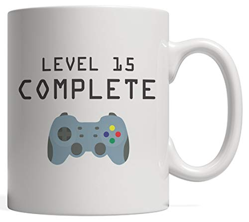 Level 15 Complete Mug - Cool Geek Gaming Gift For Fifteen Years Old Video Games Lovers To Celebrate Their Happy 15th Birthday As An Achievement Unlocked! With Gamer Controller