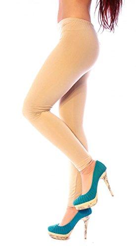 Damen Legging Leggings Lang Winter Warm Thermo Soft Touch Funktions Sport Glatt Weich Uni Einfarbig Leggin Leggins Gr Beige 36 38 / S M