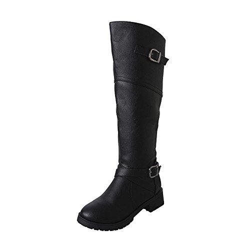 Boot-top-handtasche (Stiefel Damen, LANSKIRT PU-Leder Ritter Schnalle Damen Faux Stiefel Stiefeletten Halbschaft Stiefel Plateau Blockabsatz Knöchelhohe Stiefel Boot Sandalen Sneakers Schuhe)