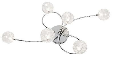 Nino Leuchten NV-Deckenleuchte Spider / Breite: 50 cm , Tiefe: 26 cm, Länge: 95 cm / chrom mit Drahtkugelgeflecht / 6-flammig 63360606 von Nino Leuchten GmbH - Lampenhans.de