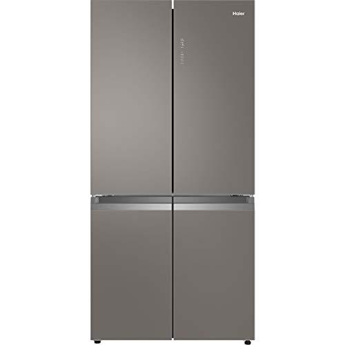 Haier HTF-540DGG7 American Fridge Freezer - Grey / Glass